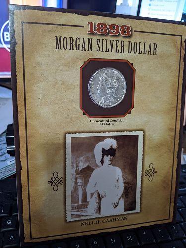 1898 morgan dollar with stamp