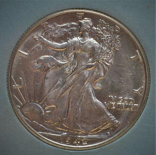 1942 Walking Liberty Silver Half Dollar - BU