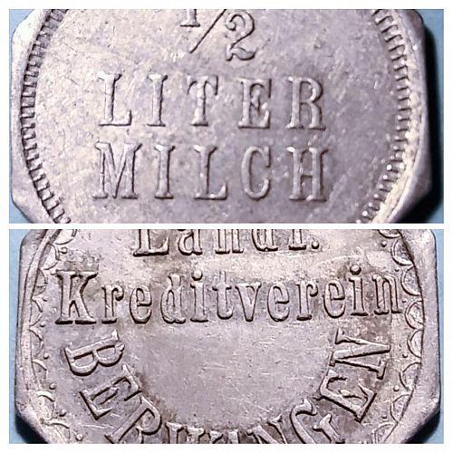 BERWANGEN GERMANY MILK RATION TOKEN GOOD FOR ONE HALF LITER MILK