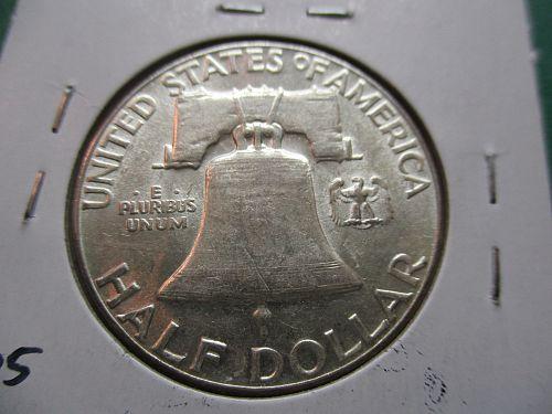 1954  AU55 Franklin Half Dollar.  item: 50 F54-10.