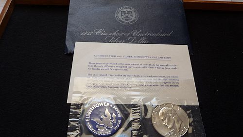1973-S Eisenhower Silver Dollar with Envelope & COA