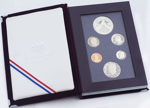 1988 PRESTIGE PROOF SET 90% SILVER DOLLAR USA OLYMPIC US COIN