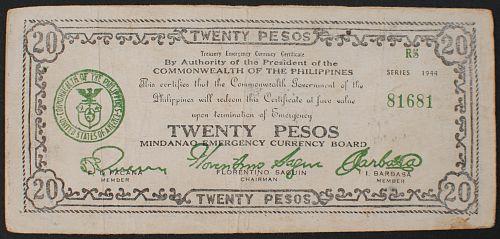Philippines S528d 20 Pesos F-VF Mindanao Guerilla Currency