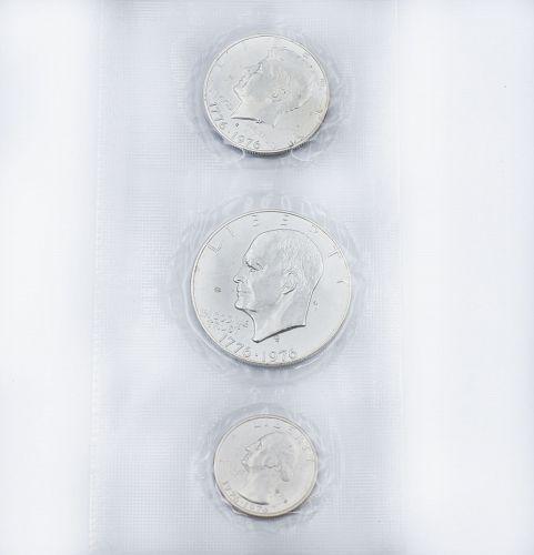 1776-1976 U.S. Mint Bicentennial Silver Uncirculated 3 Coin Set eisenhower ref#5