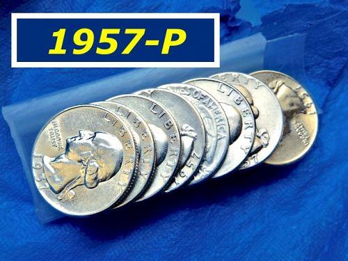 """1957-P   Silver Quarter ⭐️  """"VF"""" -- """"XF"""" Grade ⭐️  (2896)"""