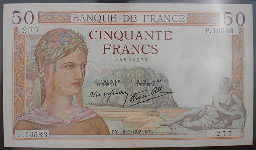 France P85b 50 Francs PMG XF40