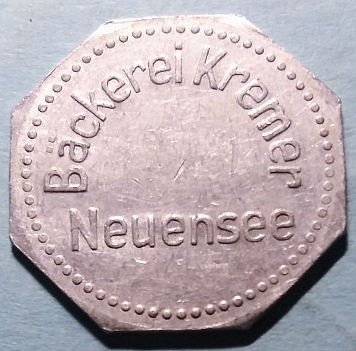 WW1 GERMAN -- NEUENSEE BREAD RATION TOKEN- GOOD FOR ONE LOAF