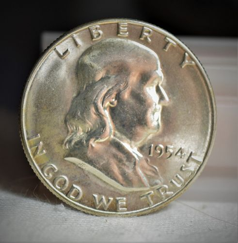 1954 S Franklin Silver Half Dollar - BU