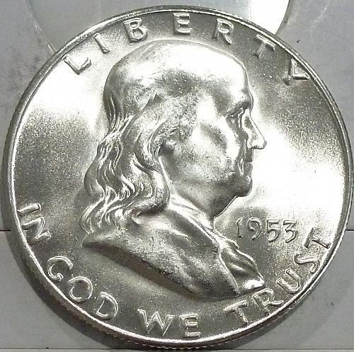 1953-S Gem BU Franklin Half Dollar With Full Bell Lines (440-P)