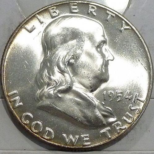 1954-P Gem BU Franklin Half Dollar With Full Bell Lines ( 440-O)