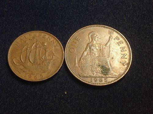 1965 Great Britain 1/2 Penny & 1 Penny