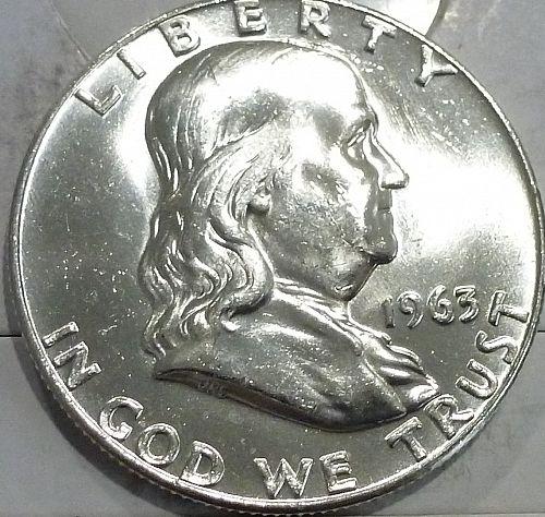 1963-D Gem BU Franklin Half Dollar With Full Bell Lines (440-9)