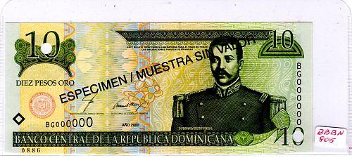 "2000 DOMINICAN REPUBLIC TEN PESOS 'ORO' BANKNOTE  ""SPECIMEN"""