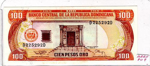 1994 DOMINICAN REPUBLIC ONE HUNDRED PESOS 'ORO'  BANKNOTE
