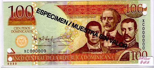 """2011 DOMINICAN REPUBLIC ONE HUNDRED PESOS 'ORO'  BANKNOTE """"SPECIMEN"""""""