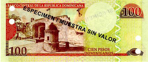 """2012 DOMINICAN REPUBLIC ONE HUNDRED PESOS 'ORO'  BANKNOTE """"SPECIMEN"""""""