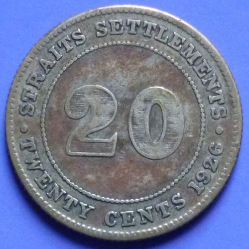Straits Settlements 20 Cents 1926 km 30b Silver