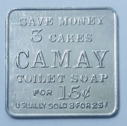 CAMAY RETAILERS TOKEN --- 3 CAKES SOAP FOR 15 CENTS