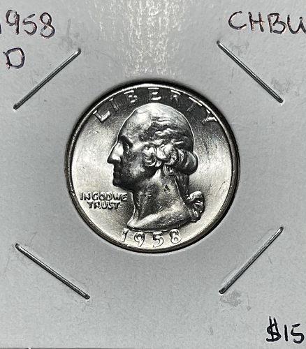 1958-D High Grade Choice BU Washington US Silver Quarter