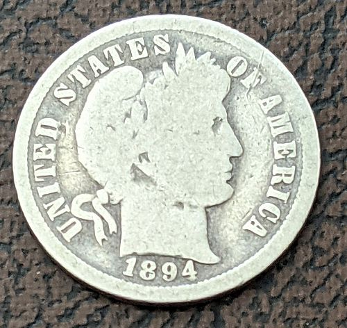 1894-0 GOOD+ BARBER DIME.  A much better date.