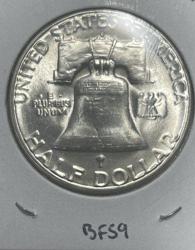 1954-S High Grade Brilliant Uncirculated FBL Franklin US Silver Half Dollar