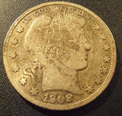 1908 S Barber Silver Half Dollar (08SAC1)