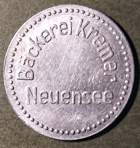 WW1 GERMAN -- NEUENSEE BREAD RATION TOKEN - GOOD FOR 5 LOAVES