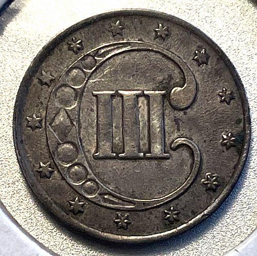 1853 Silver Three Cent. MS61.   2523