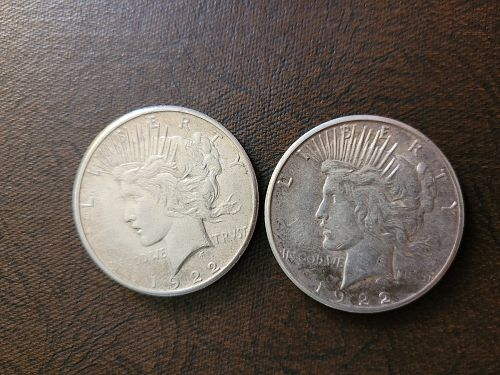 SET OF TWO (2) 1922-S Peace Dollars