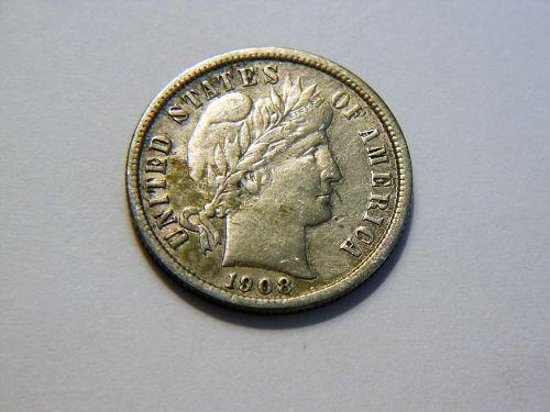 1908-P Silver Barber Dime