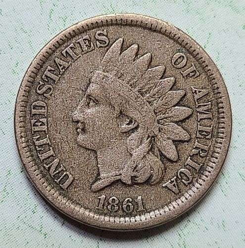 1861 Indian Cent Fine-12 Nice Problem Free First Year of Civil War!