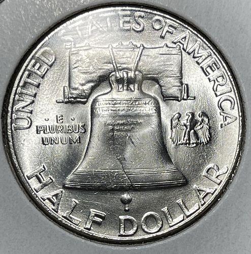 """1955-P GEM Brilliant Uncirculated FBL """"BUGS BUNNY"""" Franklin Half Dollar#BF"""