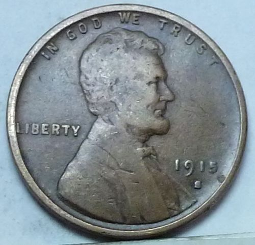 Here is a  F 1915-S Fine Lincoln Wheat Cent  (  608 )