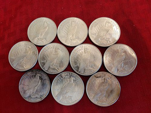 LOT OF TEN (10) Peace Dollar Silver Rounds