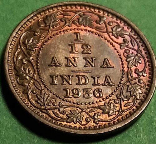 AU-58 NICELY TONED 1936 BRITISH INDIA 1/12 ANNA