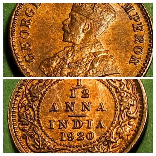 AU - RED/BROWN 1920 BRITISH INDIA 1/12 ANNA
