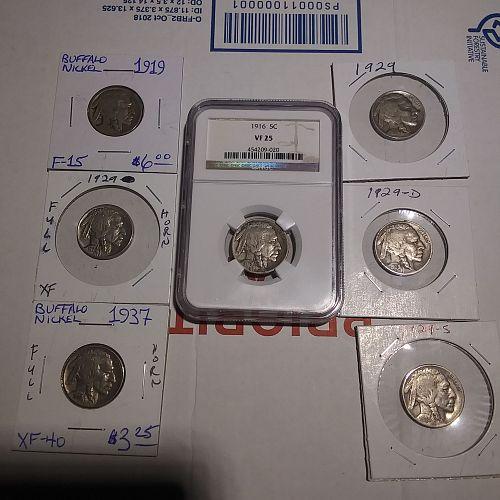 7 Pc. Buffalo Nickel Bundle ..one is a NGC VF 25 1916