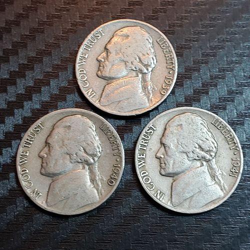 3 Jefferson Nickels 1939-P, 1940-D, 1941-D