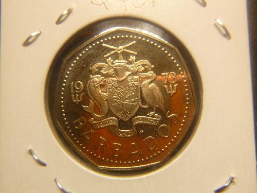"""BARBADOS 1973 1 DOLLAR """"PROOF"""""""