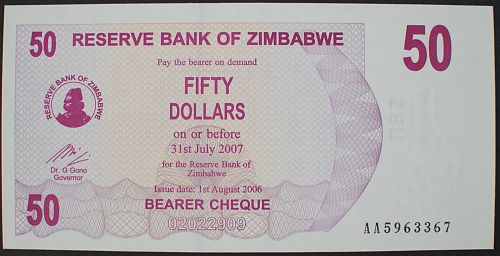 Zimbabwe P41 50 Dollars UNC63