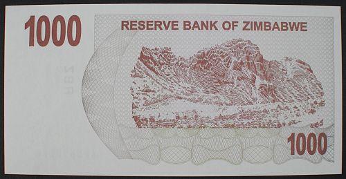 Zimbabwe P44 1000 Dollars AU+