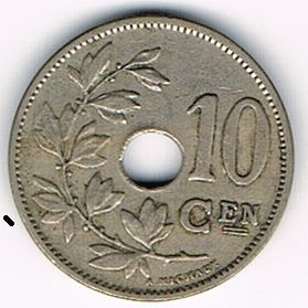 10 Centimes (Dutch text), Belgium , 1927