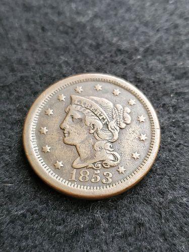 Nice VF 1853 Braided Hair Large Cent