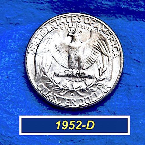 "1952-D SILVER Washington Quafter  ⭐️  ""BU""  ⭐️  (2224}"