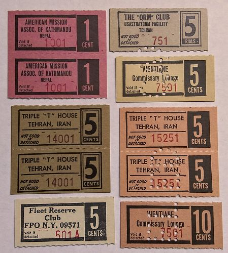 1-5-10 CENTS VINTAGE MILITARY CLUB TRADE CHIT COUPONS - TEHRAN- NEPAL- LAOS