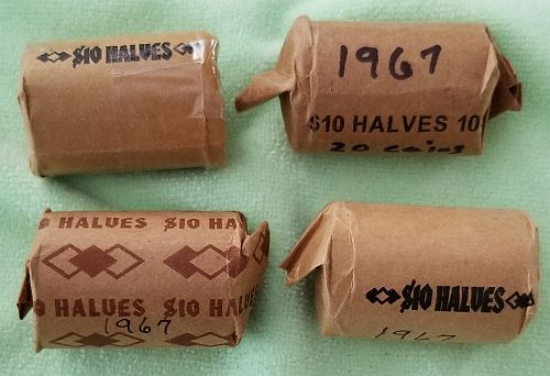 4 Rolls (80 coins) 1967 Kennedy 40% Silver Half Dollars - Circulated Condition
