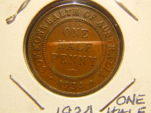 AUSTRALIA 1934 ONE HALF PENNY