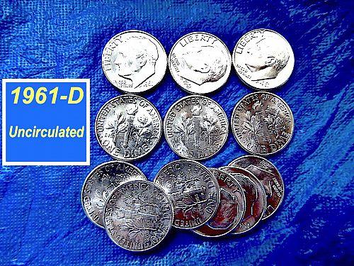 "1961-D ""BU"" Dime ⭐️  Bright Flashing Luster ""BU""  Silver  ⭐️  (3200)"