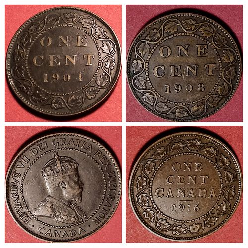 1904 - 1908 - 1916 CANADA LARGE CENT LOT OF 3