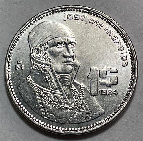 1984 1 Peso.  Mexican Coin 3752
